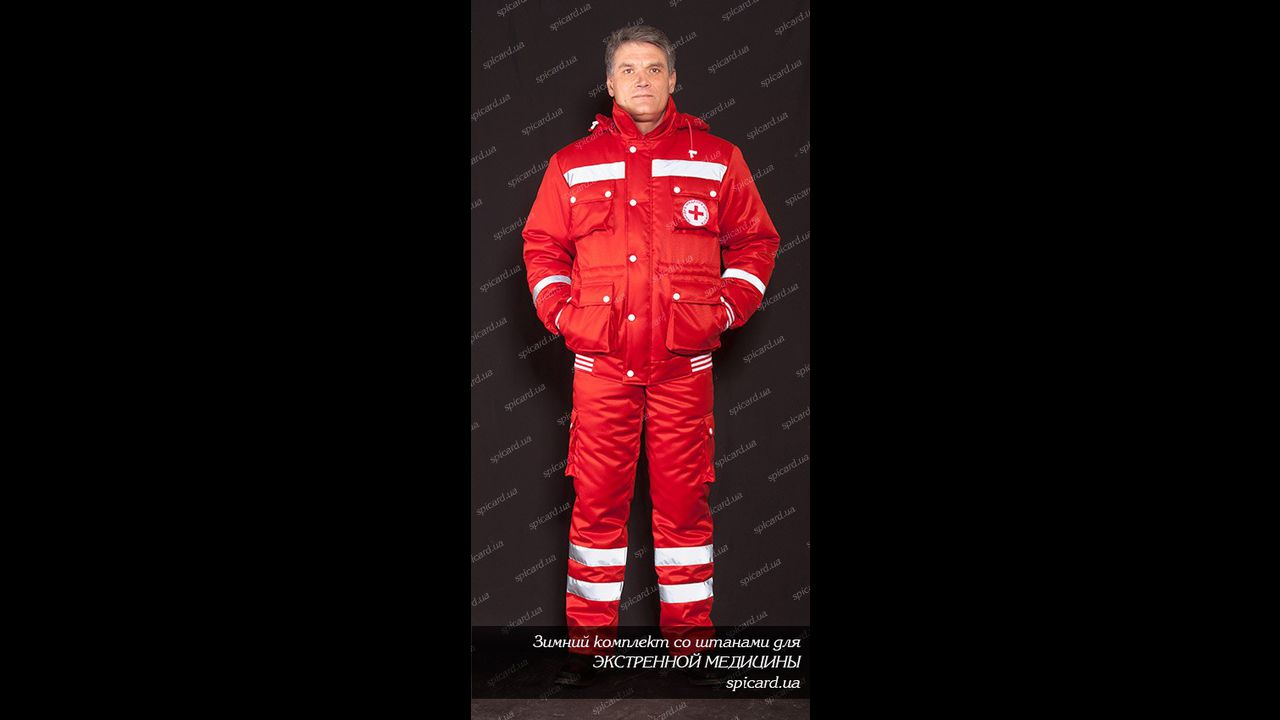 Комплект мужской зимний красный (куртка + брюки)