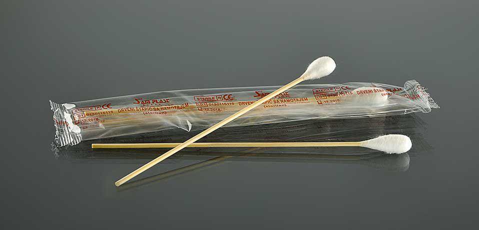 Деревянная палочка с намоткой ваты, 10-11 мм №0100